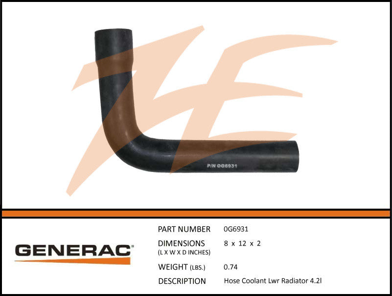 Generac 0G6931 Radiator Lower Coolant Hose 4.2L