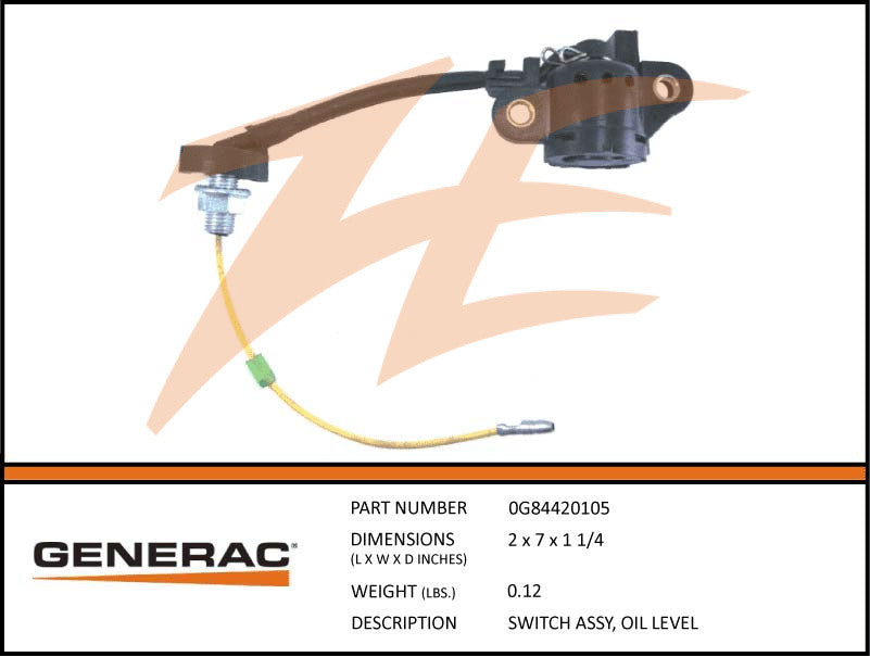 Generac 0G84420105 Oil Level Switch Assembly