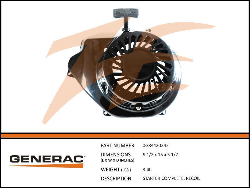 Generac 0G84420242 Recoil Starter Complete