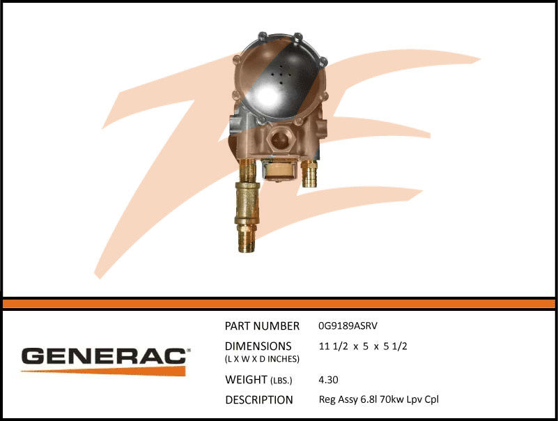Generac 0G9189ASRV Fuel Regulator Assembly 6.8L 70kW LP