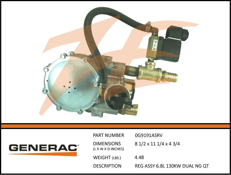 Generac 0G9191ASRV Fuel Regulator Assembly 6.8L 130kW NG Dual