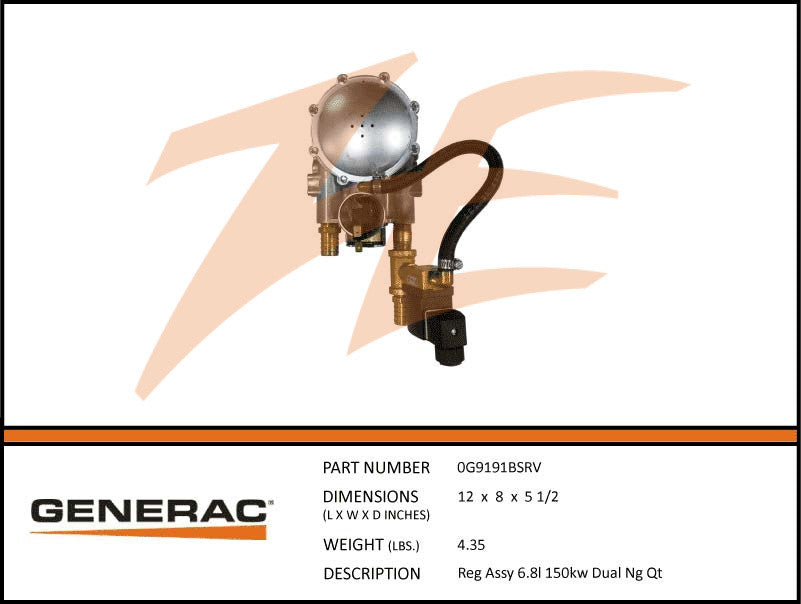 Generac 0G9191BSRV Fuel Regulator Assembly 6.8L 150kW NG Dual