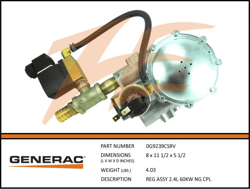Generac 0G9239CSRV Fuel Regulator Assembly 2.4L 60kW NG