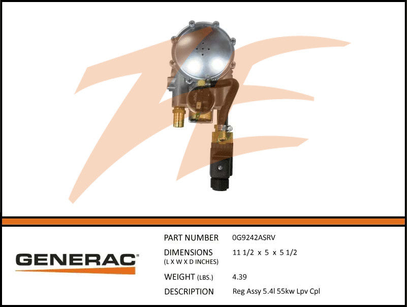 Generac 0G9242ASRV Fuel Regulator Assembly 5.4L 55kW LP