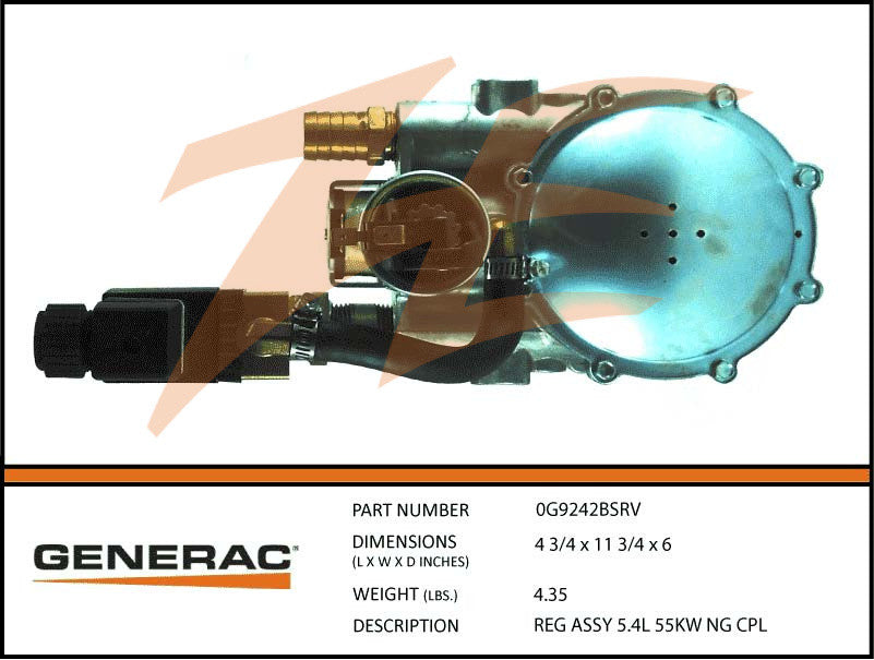 Generac 0G9242BSRV Fuel Regulator Assembly 5.4L 55kW NG