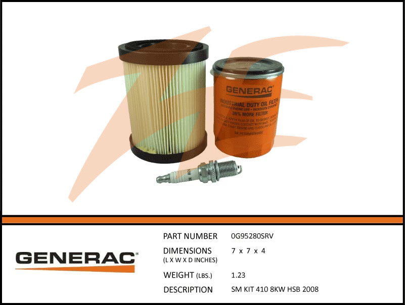 Generac 5662/0G95280SRV 8kW Air Cooled Maintenance Kit