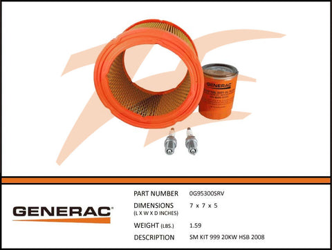 Generac 5665/0G95300SRV 20kW Air Cooled Maintenance kit