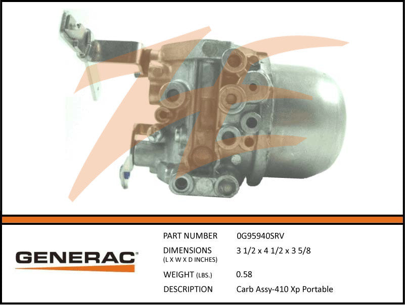 Generac 0G95940SRV Carburetor Assembly 410cc XP Portable