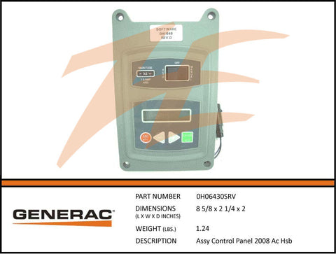 Generac 0H06430SRV 2008 Air Cooled Control Panel