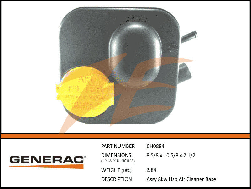 Generac 0H0884/0H08840SRV Air Cleaner Base Assembly Kit
