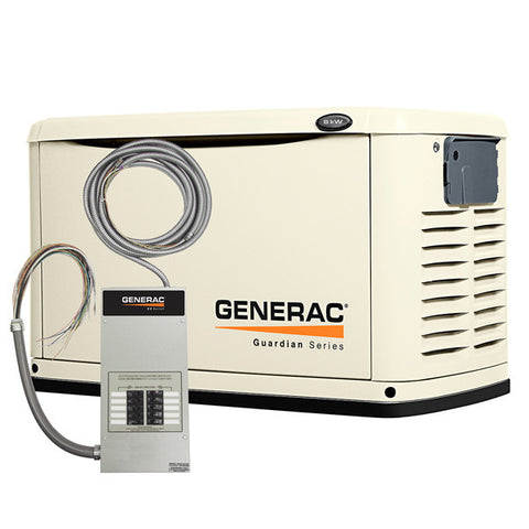 Generac 6237 8kW Steel Automatic Standby Generator with 10-Circuit Transfer Switch