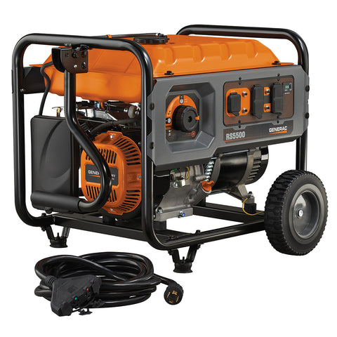 Generac 6672 RS5500 5500 Watt Rapid Start Portable Gasoline Generator w/ Cord