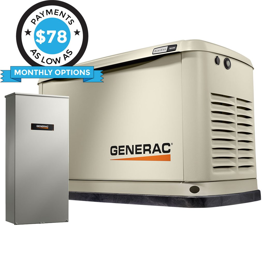 Generac Guardian 71780 16kW + 200A SE Transfer Switch Aluminum Automatic Standby Generator with WiFi