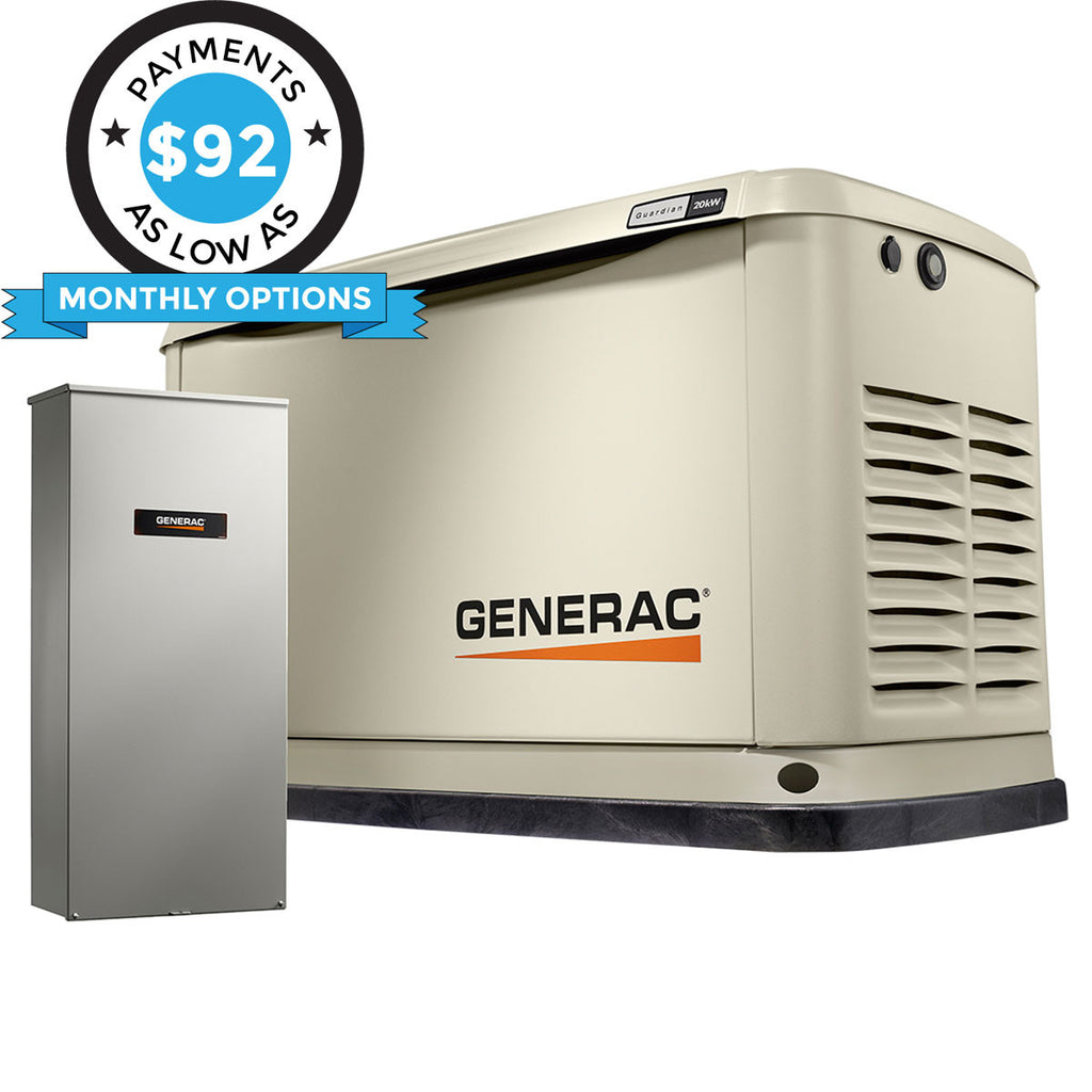 Generac Guardian 70391 20kW Aluminum Automatic Standby Generator with WiFi & 200A SE Rated Transfer Switch