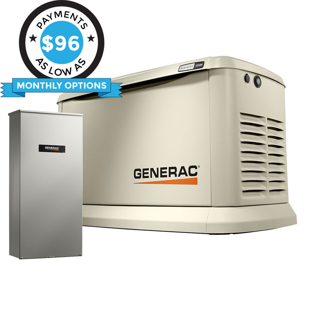 Generac Guardian 70432 22kW Aluminum Automatic Standby Generator with WiFi & 200A SE Rated Transfer Switch