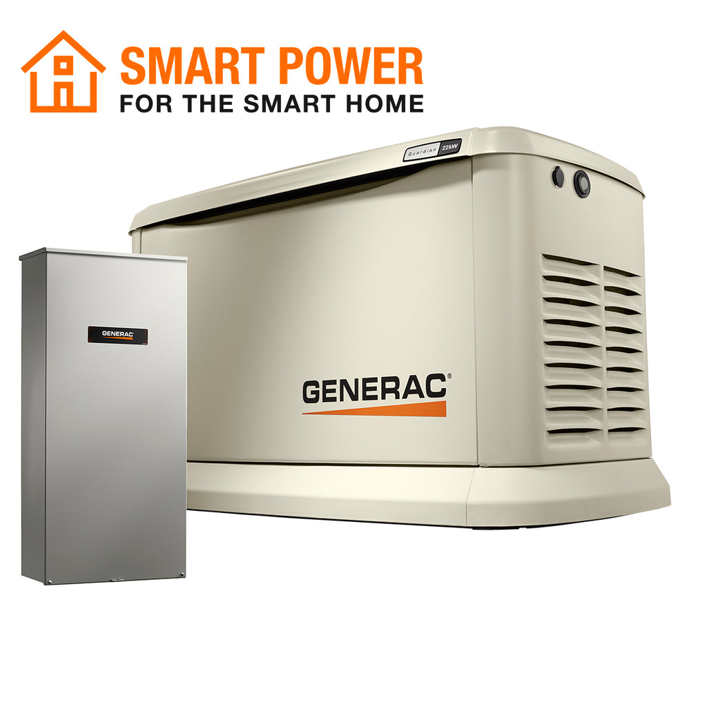 Generac Guardian 70433 22kW Aluminum Automatic Standby Generator with WiFi & 200A SE Rated Transfer Switch