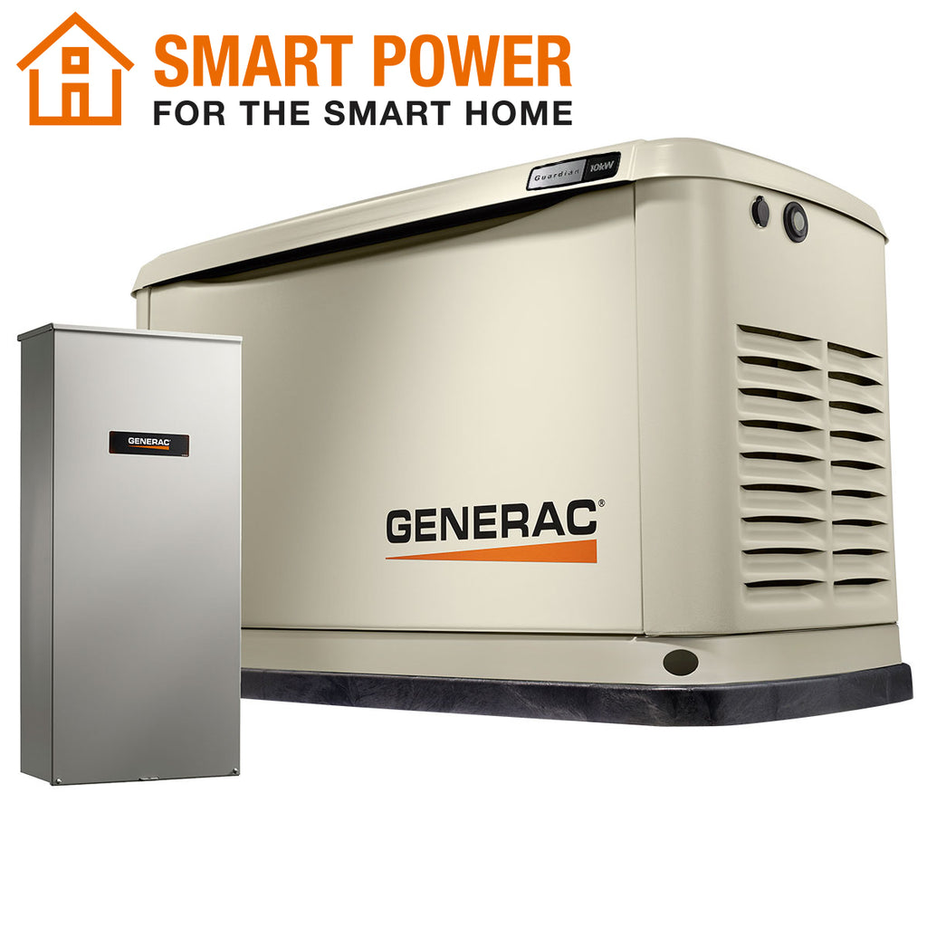 Generac Guardian 71720 10kW + 16-Circuit Transfer Switch Aluminum Automatic Standby Generator with WiFi