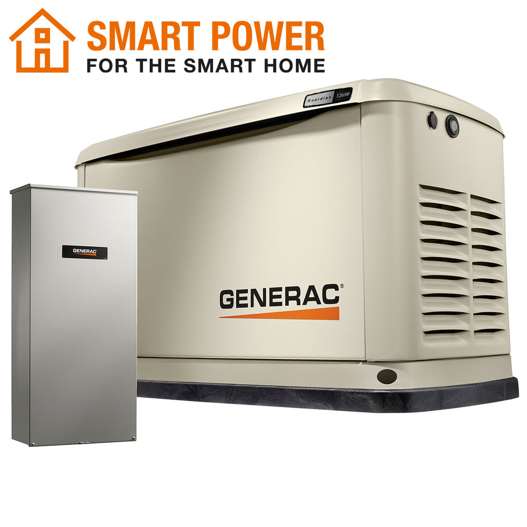 Generac Guardian 71740 13kW + 16-Circuit Transfer Switch Aluminum Automatic Standby Generator with WiFi