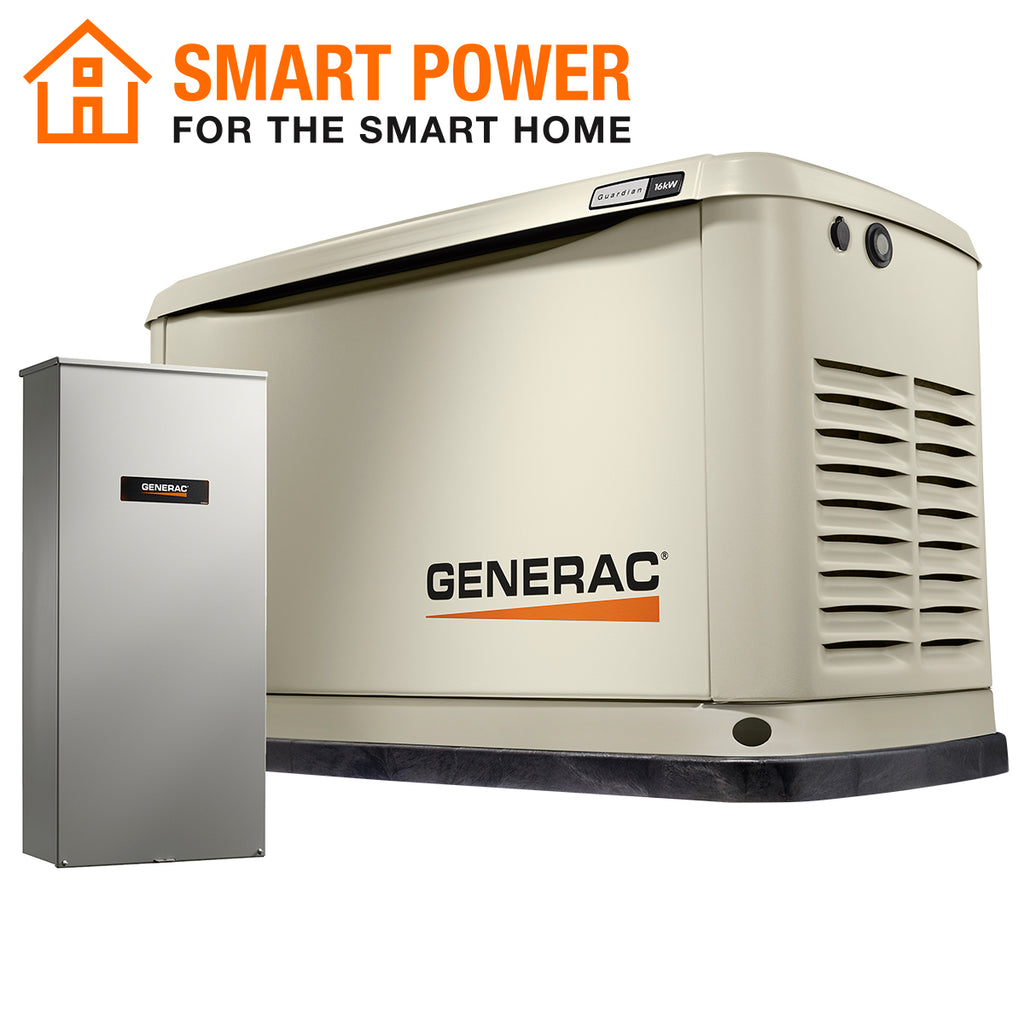 Generac Guardian 71770 16kW + 100A 16-Circuit Transfer Switch Aluminum Automatic Standby Generator with WiFi