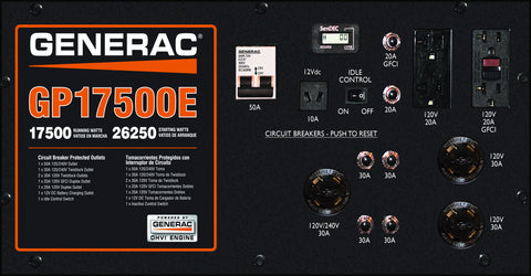 Generac 5735 GP17500E 17,500 Watt Electric Start Portable Gasoline Generator