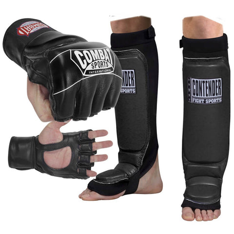 Combat Sports MMA Gloves + Shin Guards Bundle - Main
