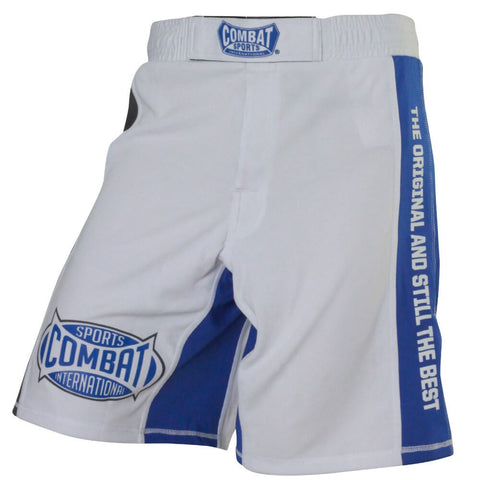 Combat Sports MMA Training Shorts - White / Blue - Main