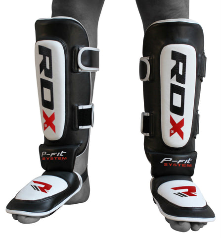 RDX Cow Hide Leather MMA Shin Guards - Front