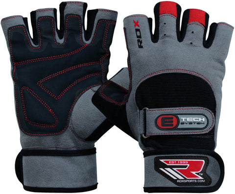 RDX Gym Exercise Leather Weight Lifting Gloves - Pair