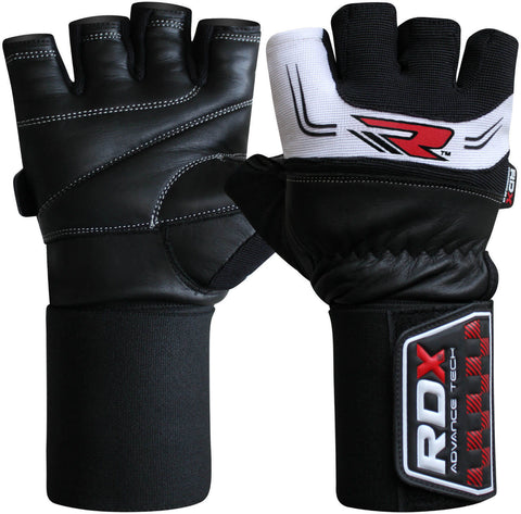 "RDX Gym Leather 3.5"" Weight Training Lifting Gloves - White"