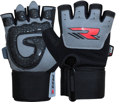 RDX Gym Training Leather Weight Lifting Gloves - Pair