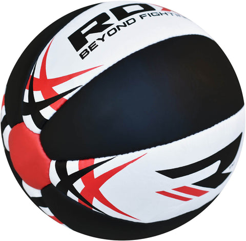 RDX Heavy Leather-X Exercise Training Medicine Ball - Black / White