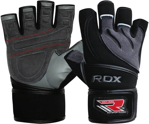 RDX Elite Leather Gym workout weight lifting gloves