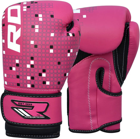 RDX Leather-X Girls Boxing Gloves - Pink