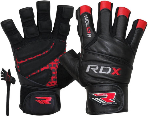 RDX Leather Bodybuilding Workout Gym Lifting Gloves - Pair