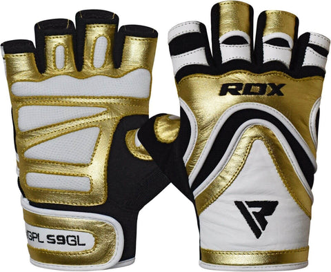 RDX Leather Weight Lifting Gloves