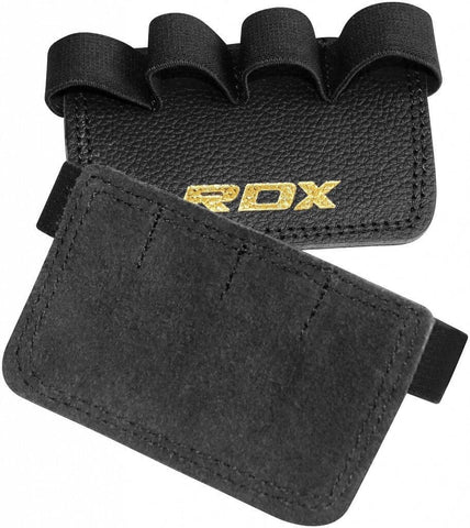 RDX Leather Weight Lifting Grips Pad Fitness Support - Black