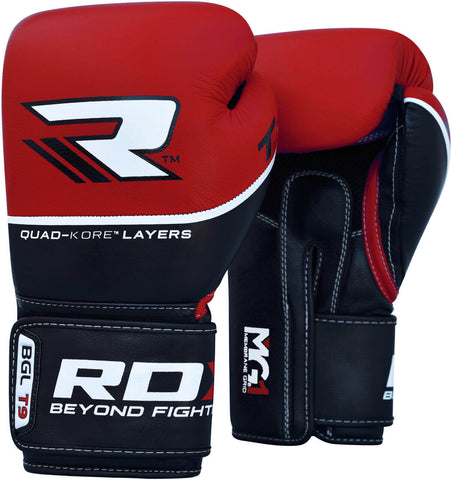 RDX QUAD-KORE PREMIUM Leather Training Gloves - Red