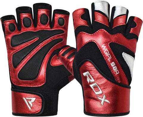 RDX WGPL-S8R Leather Weight Lifting Gym Gloves
