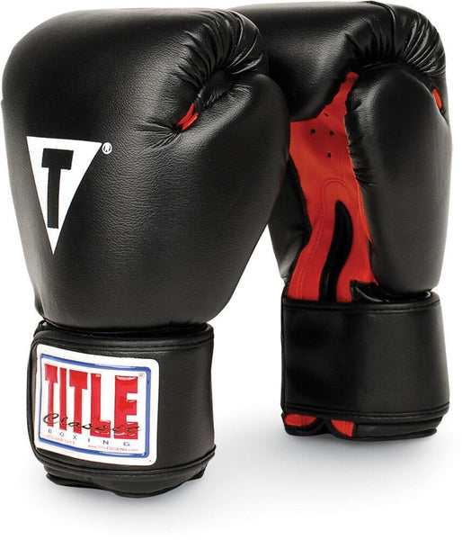 Red//White Title Boxing Classic Pro Style Hook and Loop Training Gloves