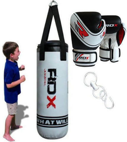 Youth RDX Unfilled Punch Bag Set With Pro Gloves & Swivel Hook