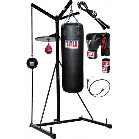 Title 4-Score Punching Bag Stand - Full With Bags - Main