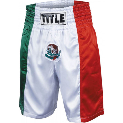 Title Boxing Mexico Flag Stock Boxing Trunks - Main