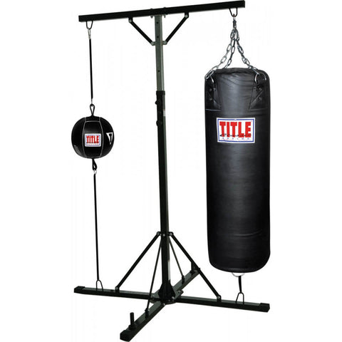 Title Double Trouble Heavy Bag Stand - Full With Heavy Bag - Main