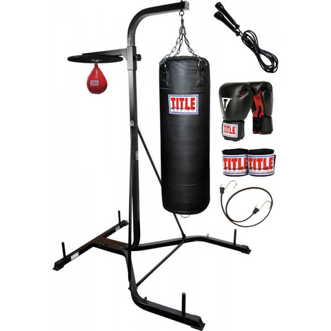 Title Speed Bag & Punching Bag Stand - Full With Bags - Main