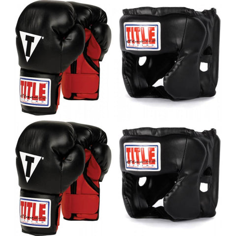 Title Youth Boxing Set - 2 Pairs Of Gloves & 2 Headgears - Main
