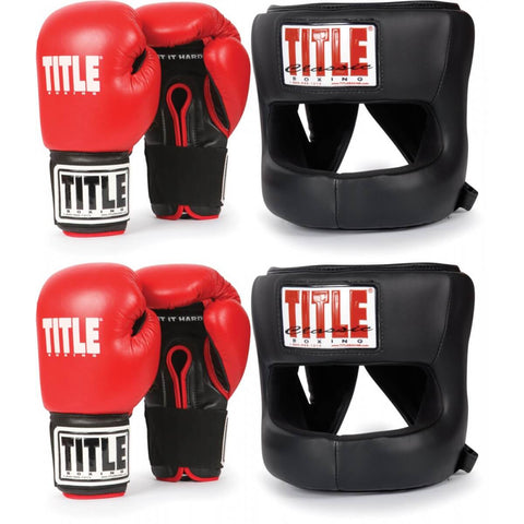 Title Youth Sparring Set - 2 Pairs Of Gloves & 2 No-Contact Headgears - Main