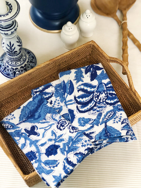 Blue and White Floral Dinner Napkins and Entertaining Essentials for every hostess