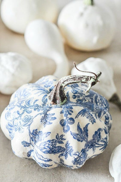Blue and White Chinoiserie Inspired Pumpkin DIY