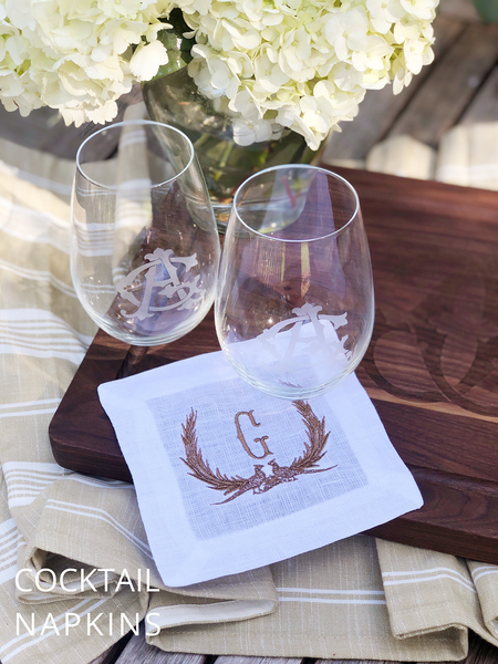 Monogrammed Pheasant Cocktail Napkins Set