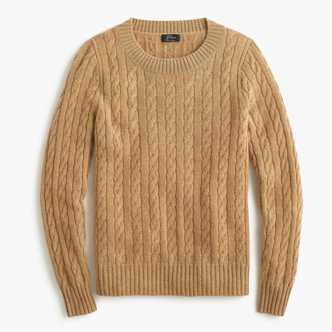 Cable Crewneck Sweater JCrew in Camel